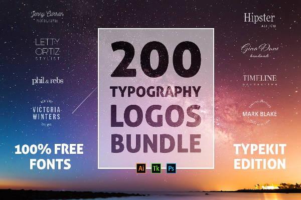 retro typography logo set
