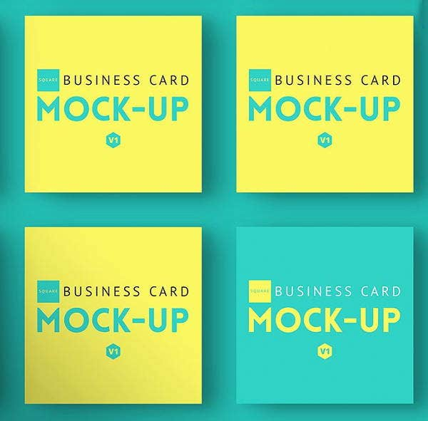 colorful square business card mockup