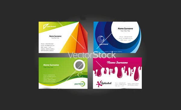 colorful business card designs vector
