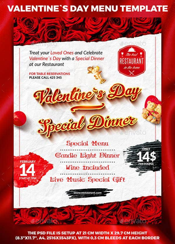10 Valentine S Day Menu Templates Psd Vector Eps Indesign File