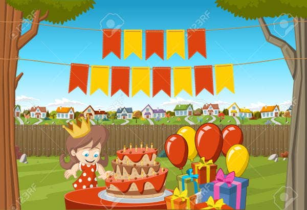 colorful cartoon outdoor birthday banner