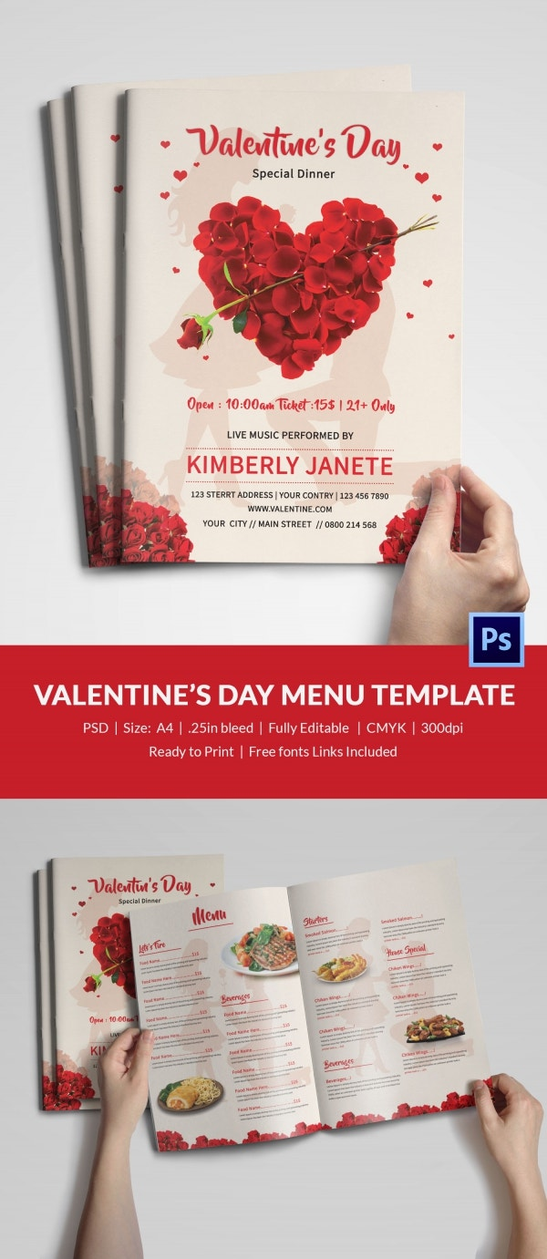 Valentines Day Bi-Fold Menu