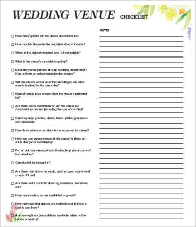 Venue Checklist Templates   Free Word Pdf Documents Download