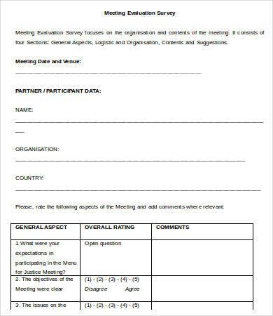 Meeting survey templates 10 free word excel pdf for Conference survey template