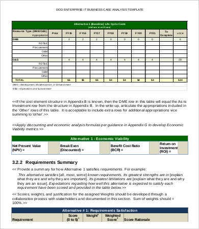 Business Case Analysis Business Case Template Pages Ms Word With