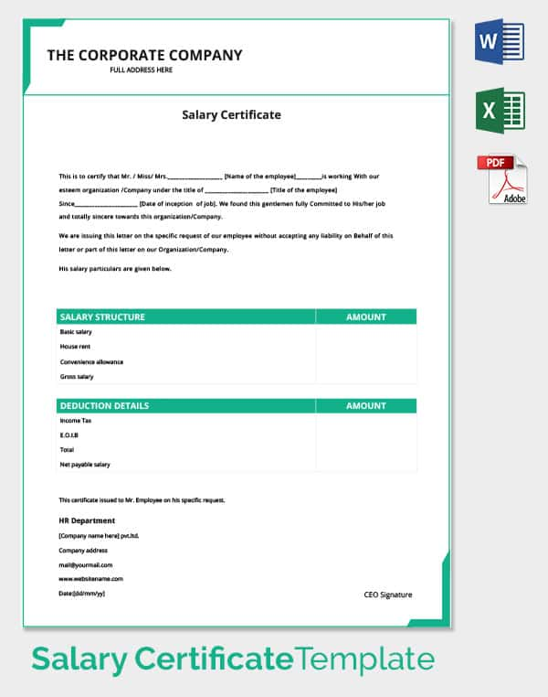 Salary certificate template 24 free word excel pdf psd corporate employee salary certificate template yadclub Images