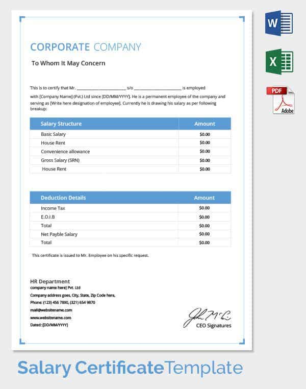 Corporate Salary Certificate Template