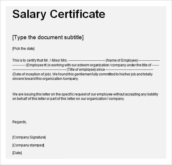 Salary Certificate Template 25 Free Word Excel PDF PSD – Salary Certificate Format Download