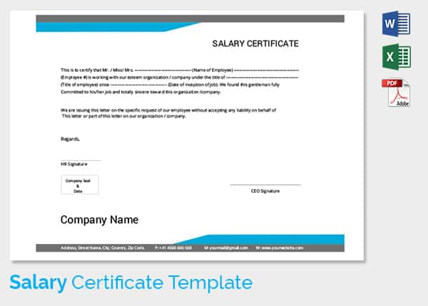 Business certificate templates salary certificate template sharing business certificate templates salary certificate template yelopaper Image collections