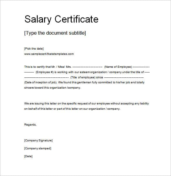 word salary certificate