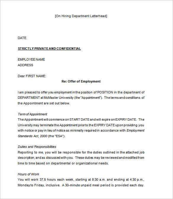 Offer Letter Geccetackletartsco - Offer of employment letter template free