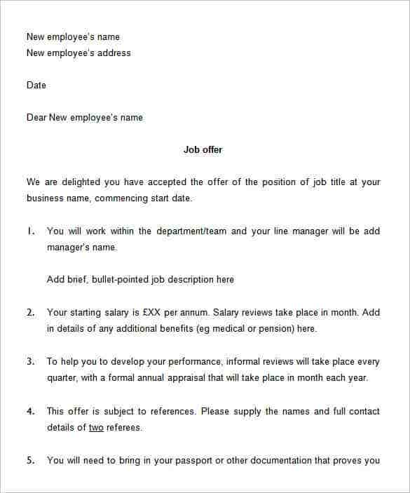 Job Offer Letter Word Form Template