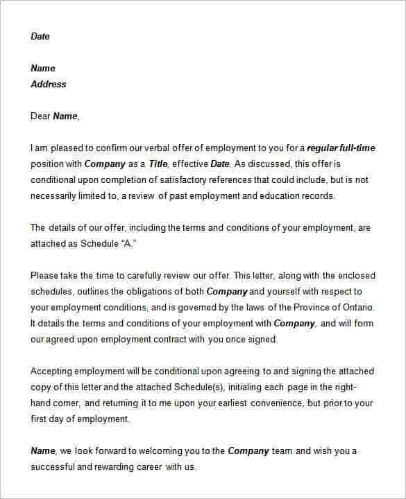 70 offer letter templates pdf doc free premium templates letter of employment template word spiritdancerdesigns Images