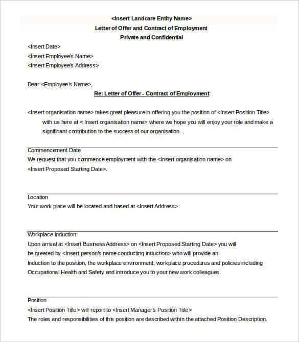 letter offer contract employment template