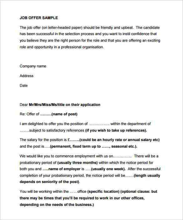 Offer Letter Template 50 Free Word PDF Format Free Premium
