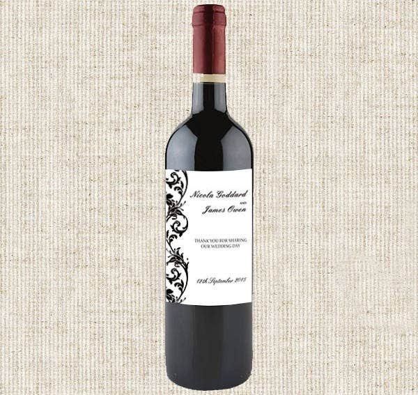 Damask Wine Bottle Label Template
