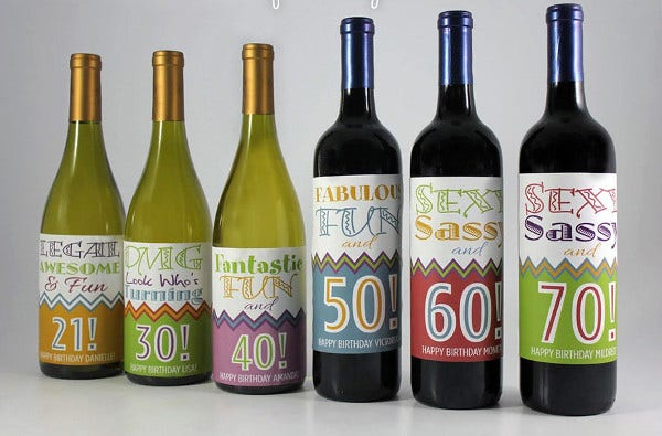 Birthday Wine Bottle Label Template