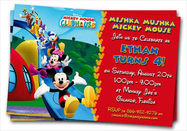 mickey mouse club house photo invitation
