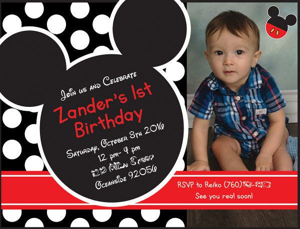 mickey mouse first birthday photo invitation