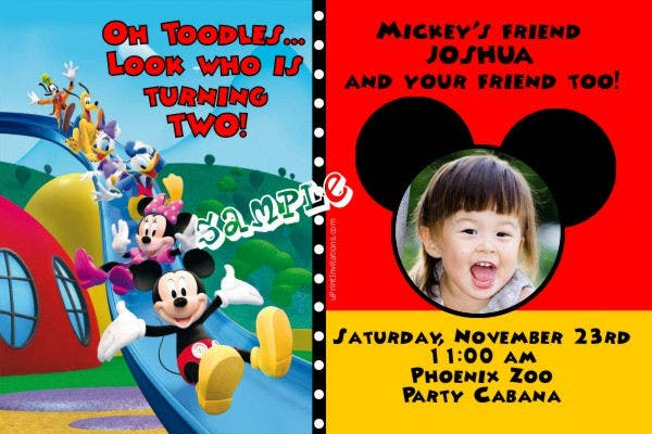 Mickey Mouse Photo Card Invitation
