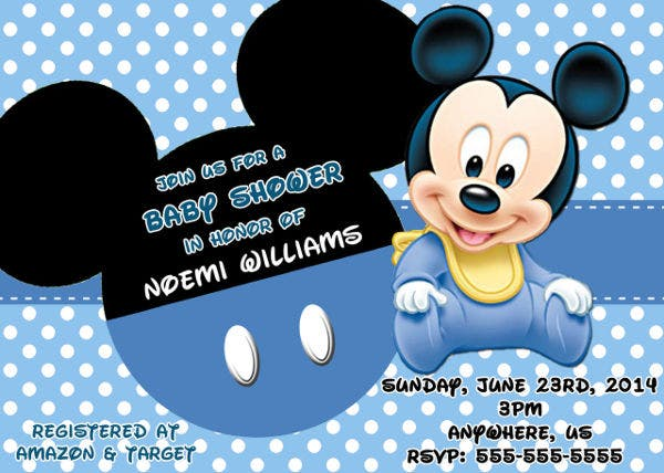 mickey mouse baby shower photo invitation