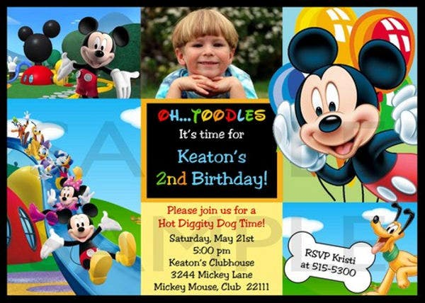 Personalized Mickey Mouse Photo Invitation