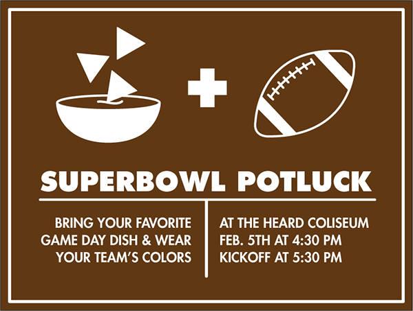 super bowl potluck party invitation