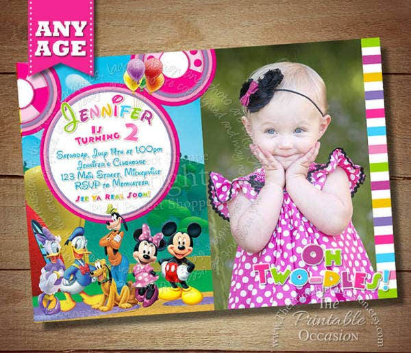 Mickey and Minnie Mouse Photo Invitation