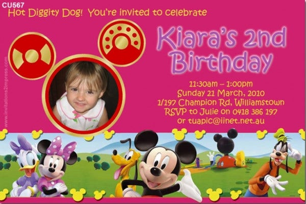 Mickey Mouse Girl Photo Invitation