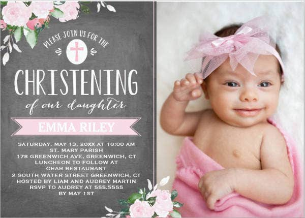 Baby Girl Christening Photo Invitation