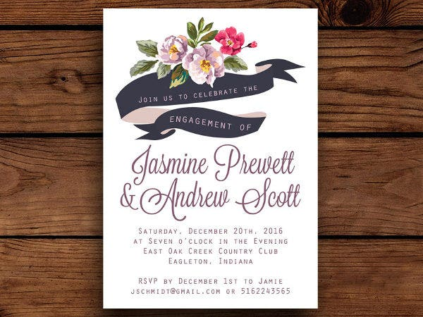 floral party invitation banner