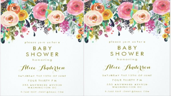baby shower floral invitation banner