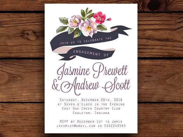 floral invitation banner