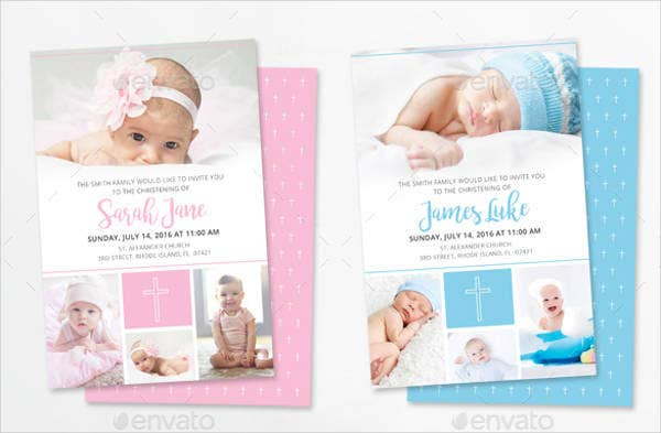 Cheap Christening Photo Invitation