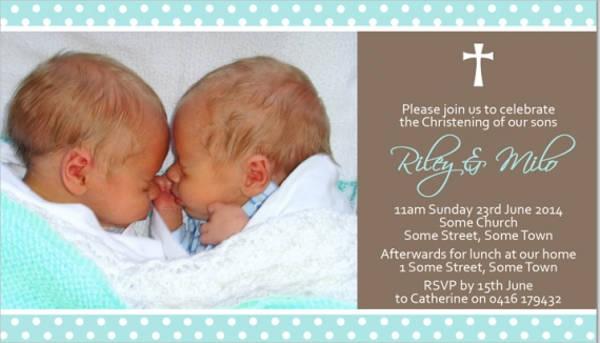 christening twin photo invitation