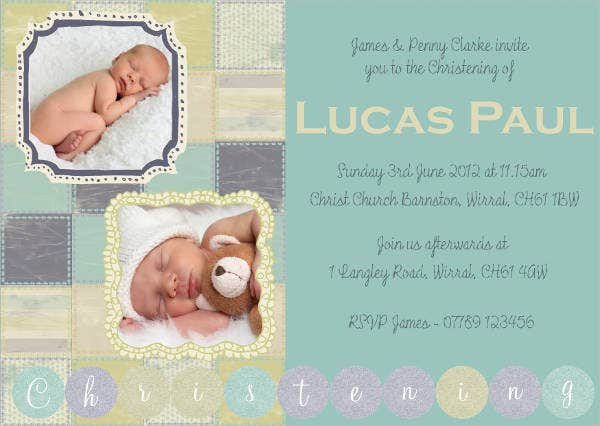 Free Printable Christening Photo Invitation