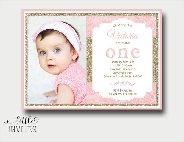 christening first birthday photo invitation