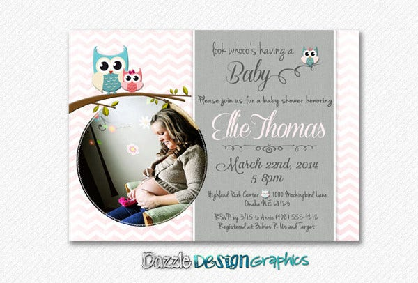 owl baby shower photo invitation