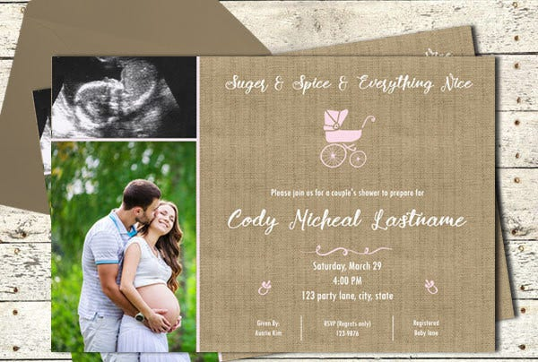 Baby Shower Couples Photo Invitation