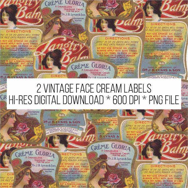 vintage beauty product label template
