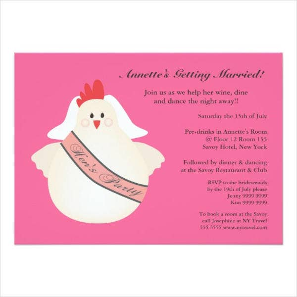 funny hen party invitation