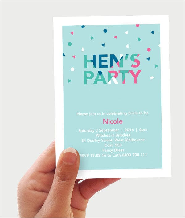 confetti hen party invitation