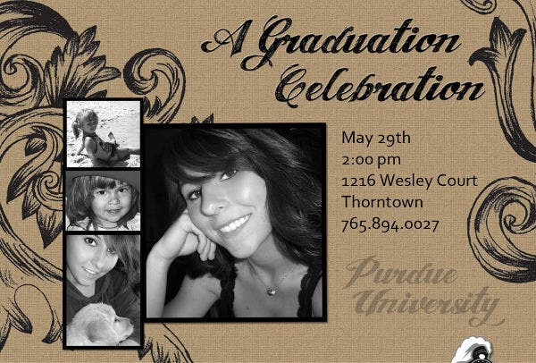Vintage Graduation Photo Invitation