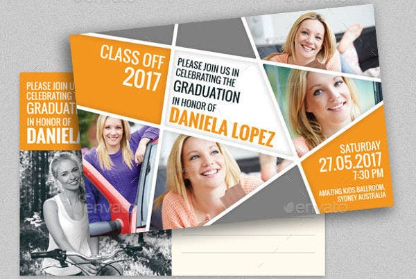 Graduation Postcard Invitation