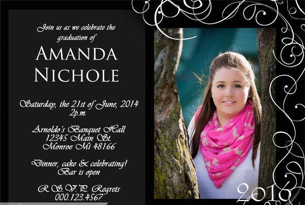 Formal Graduation Photo Invitation