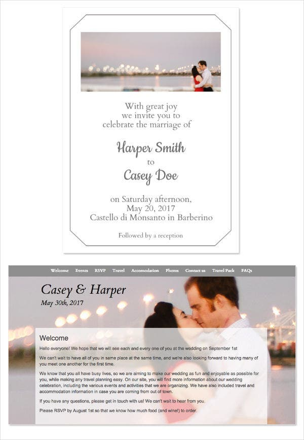 Destination Wedding Email Invitation Template