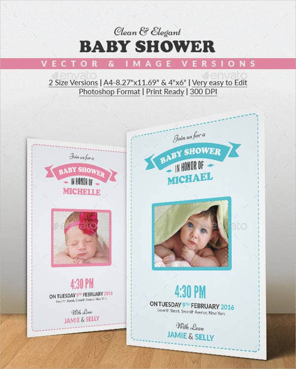 photo baby shower party invitation