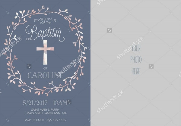 christening photo party invitation