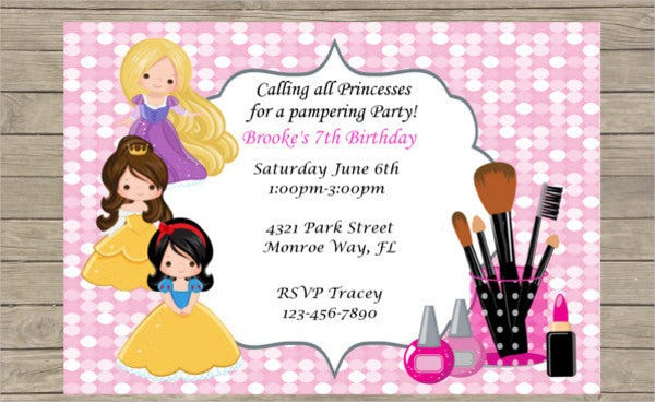 Princess Pamper Party Invitation