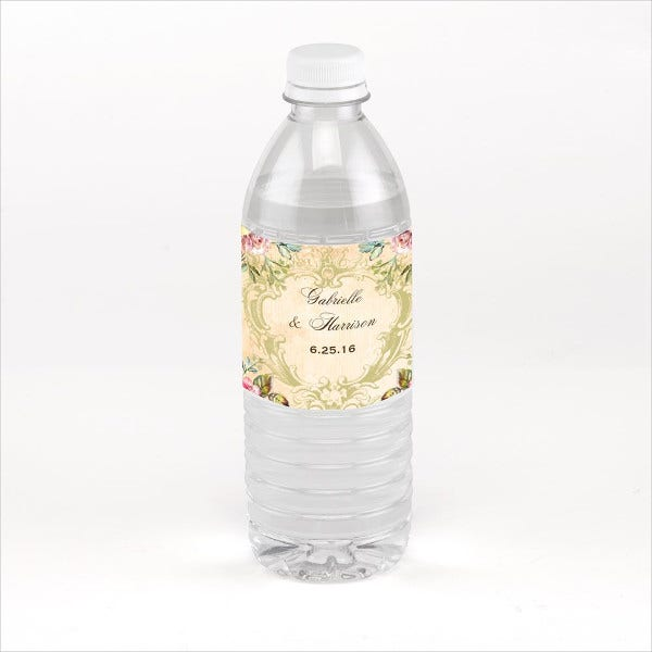 Vintage Water Bottle Label Template